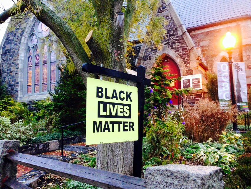 Black Lives Matter Sign at Old Cambridge Baptist Church in Harvard Square